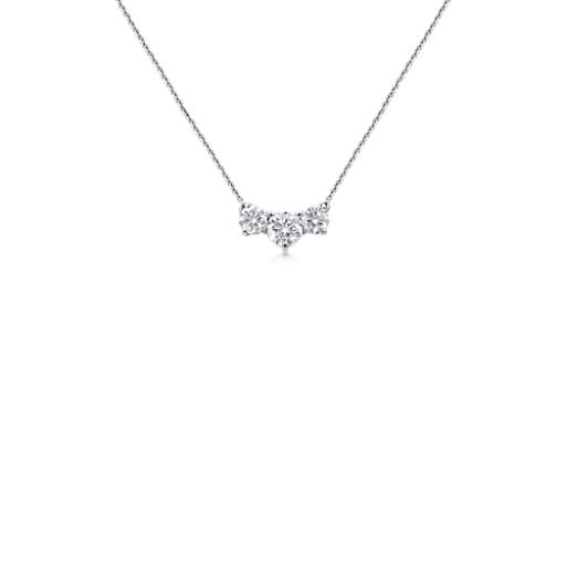 Premier Three-Stone Diamond Necklace in Platinum