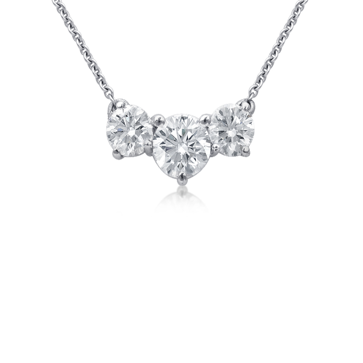 Collier en diamants à trois pierres de la plus haute qualité en platine (1 1/2carats, poids total)