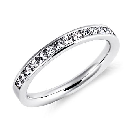 Channel Set Princess Cut Diamond Ring in 18k White Gold (1/2 ct. tw.)
