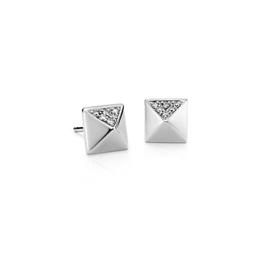 Diamond Pyramid Stud Earrings in 14k White Gold