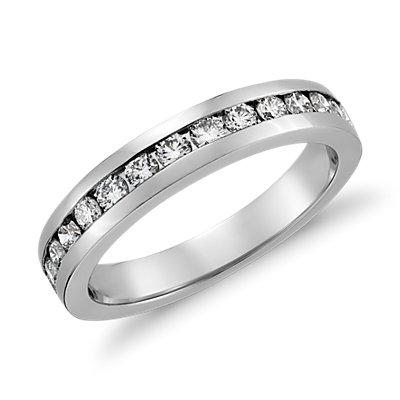 Bague diamant serti barrette  en or blanc 18carats (1/2carat, poids total)