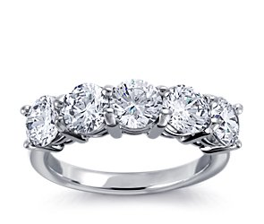 Classic Five-Stone Diamond Ring Setting in Platinum