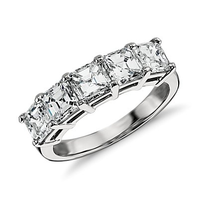 Classic Asscher Cut Five Stone Diamond Ring in Platinum (2 1/2 ct. tw.)