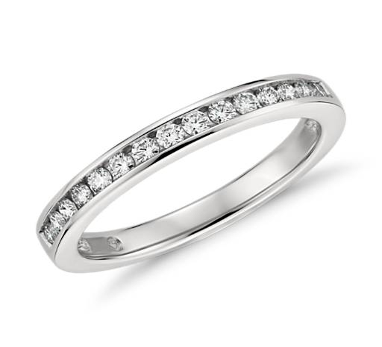 Bague diamant serti barrette  en platine
