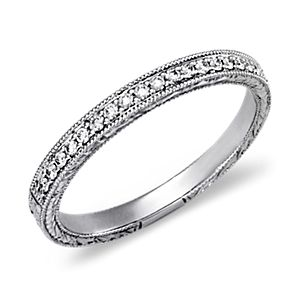 Engraved Micropavé Diamond Ring in Platinum