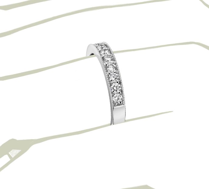 Bague en diamants sertis pavé à mille-grains en platine (1/4carat, poids total)