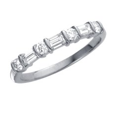 Classic Round and Baguette Diamond Ring in Platinum