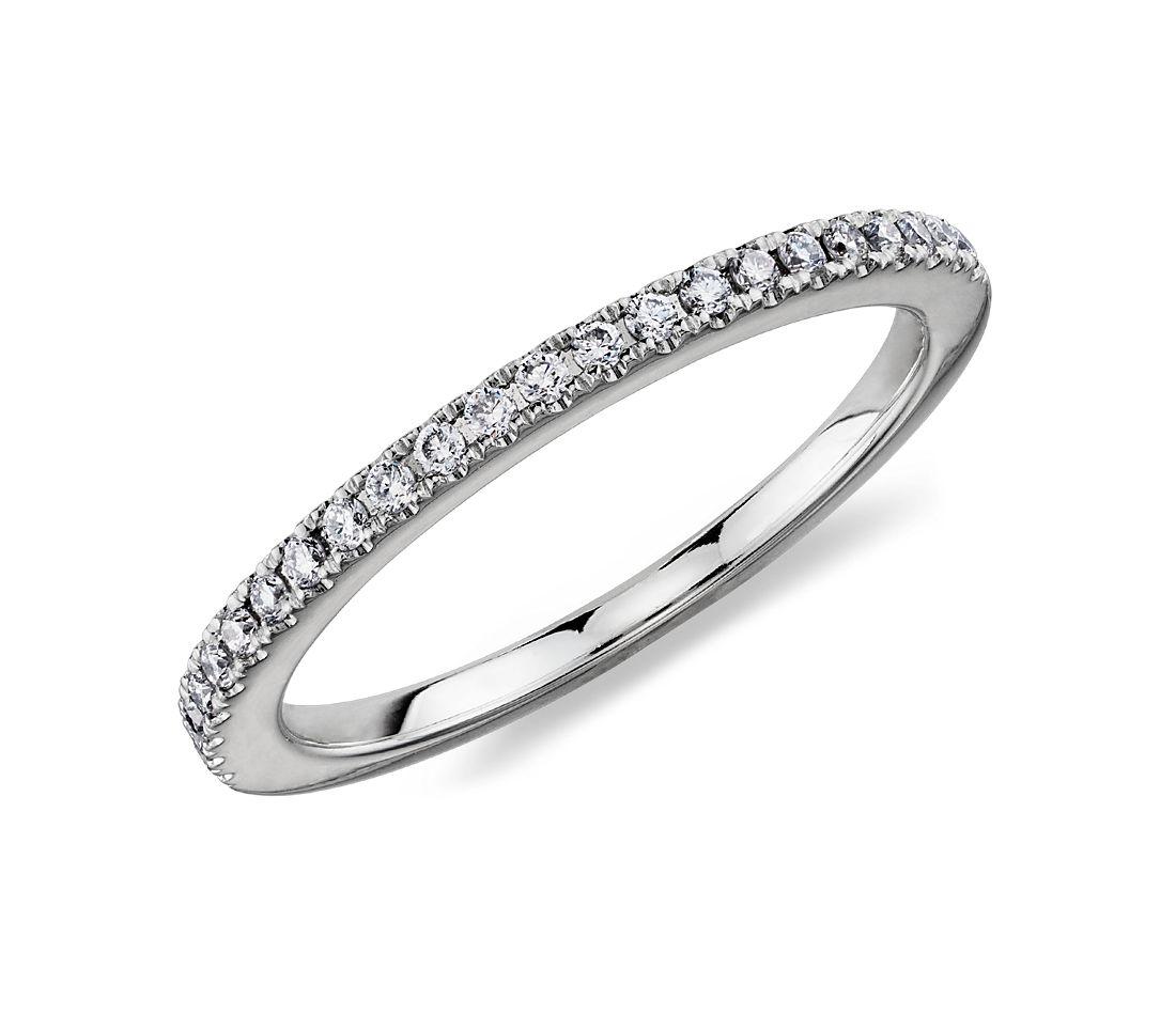 Bague diamants sertis micro-pavé  en platine (1/6carat, poids total)