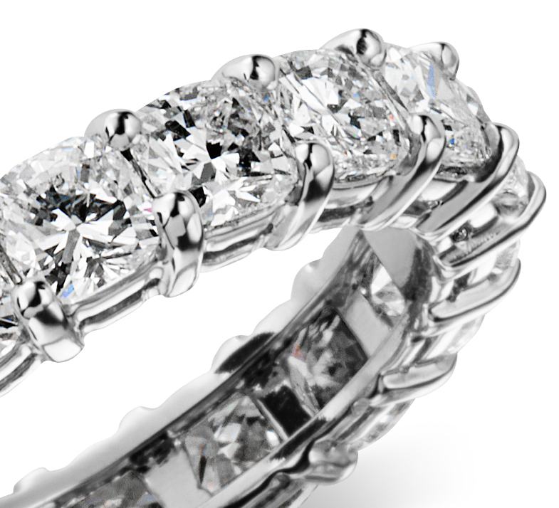 Cushion Cut Diamond Eternity Ring in Platinum (4 1/2 ct. tw.)