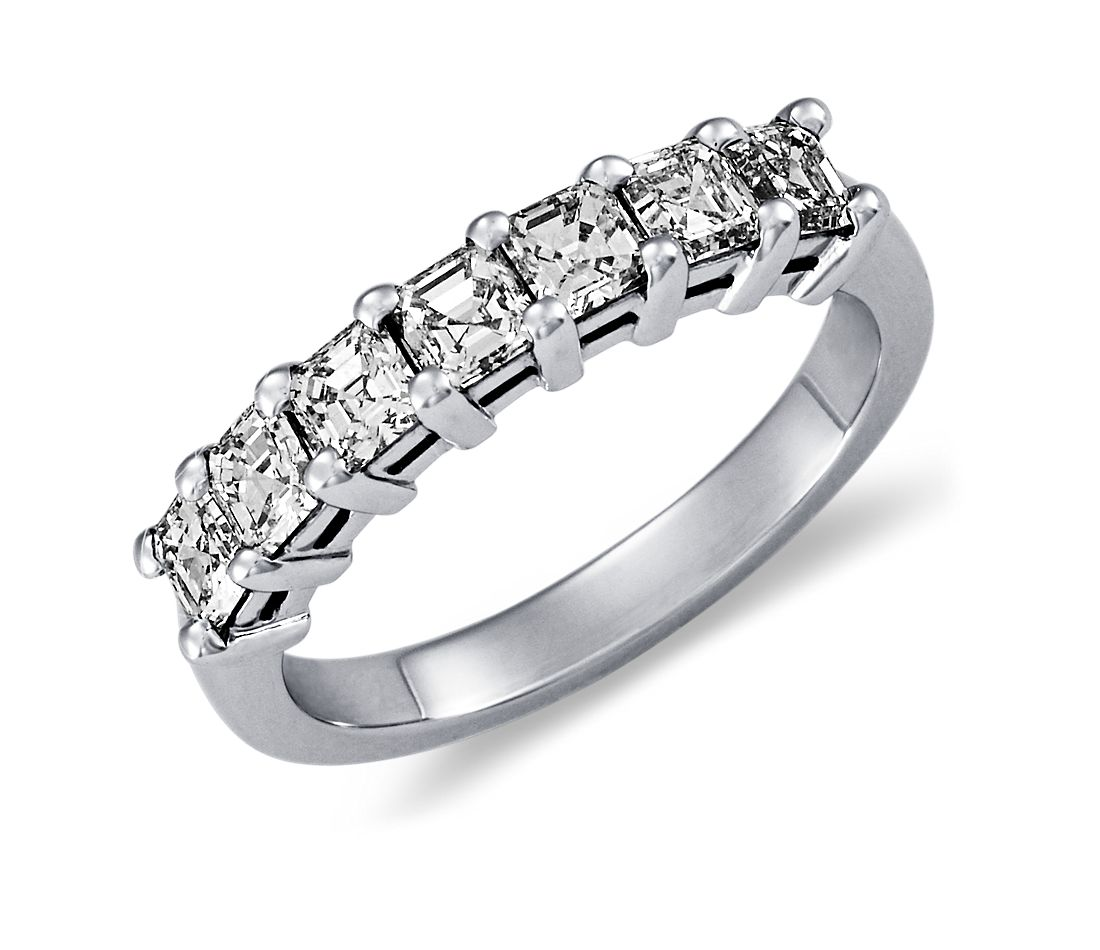 Classic Asscher Cut Seven Stone Diamond Ring in Platinum (1 ct. tw.)