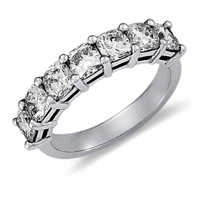Classic Cushion Cut Seven Stone Diamond Ring in Platinum (2 ct. tw.)