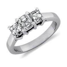 Three Stone Asscher Cut Diamond Ring in Platinum (1 ct. tw.)