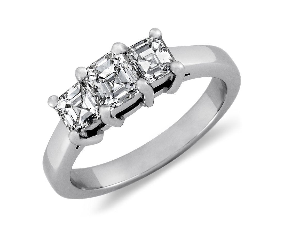 Three Stone Asscher Cut Diamond Ring in Platinum (1 ct. tw.)