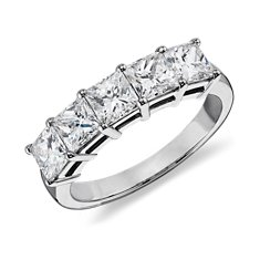 Classic Princess Cut Five Stone Diamond Ring in Platinum (2 ct. tw.)