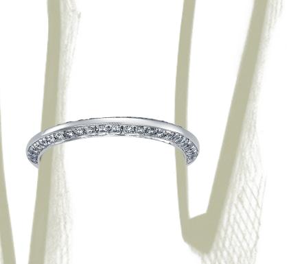 Anillo con pavé de dos diamantes en platino (1/3 qt. total)