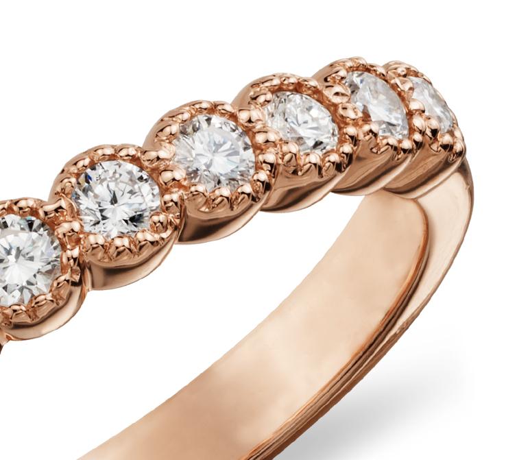Anillo de diamantes milgrain en oro rosado de 14k