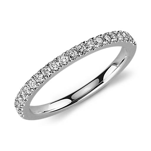 Petite Pavé Diamond Ring in 18k White Gold (1/3 ct. tw.)