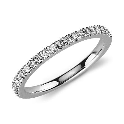 Petite bague en diamants sertis pavé en or blanc 14carats (1/3carat, poids total)
