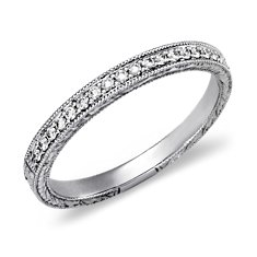 Bague en diamants sertis micro-pavé  en Or blanc 14 ct