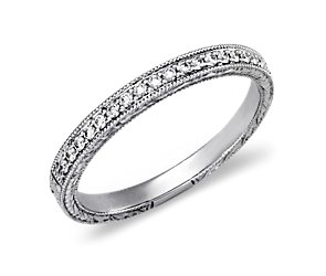 Engraved Micropavé Diamond Ring in 14k White Gold (1/5 ct. tw.)