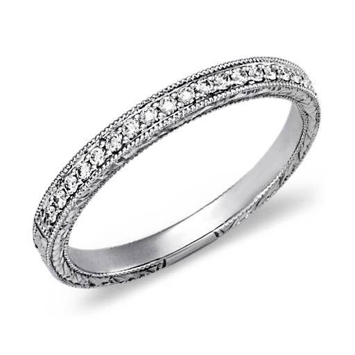 Bague en diamants sertis micro-pavé  en or blanc 14 carats
