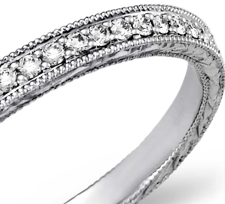 Engraved Micropavé Diamond Ring in 14k White Gold