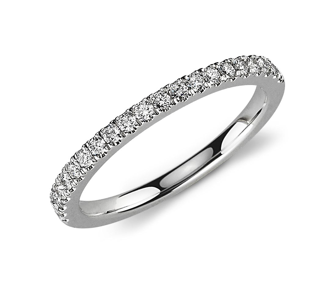 Petite Pavé Diamond Ring in 14k White Gold