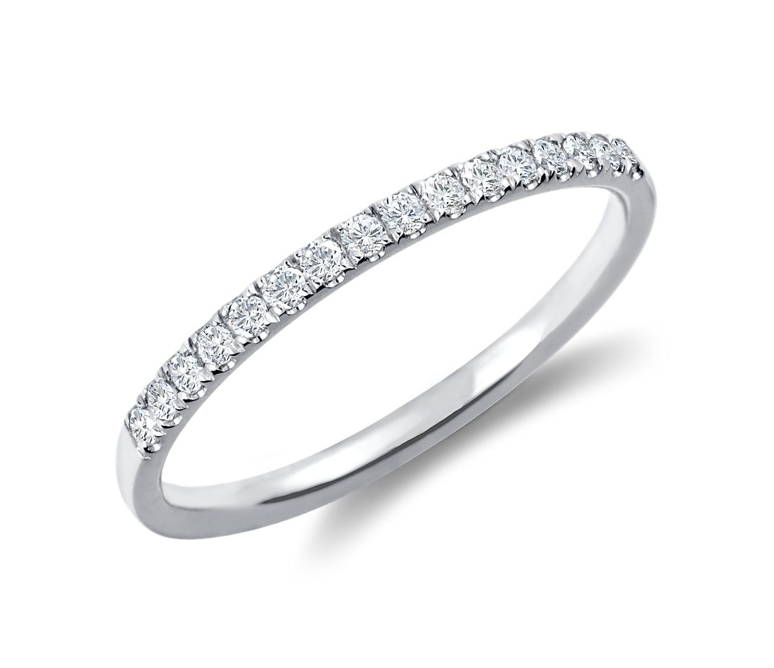 White Gold Bands: Petite Cathedral Pavé Diamond Ring In 18k White Gold (1/6