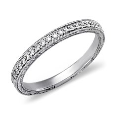 Engraved Micropavé Diamond Ring in 18k White Gold (1/5 ct. tw.)