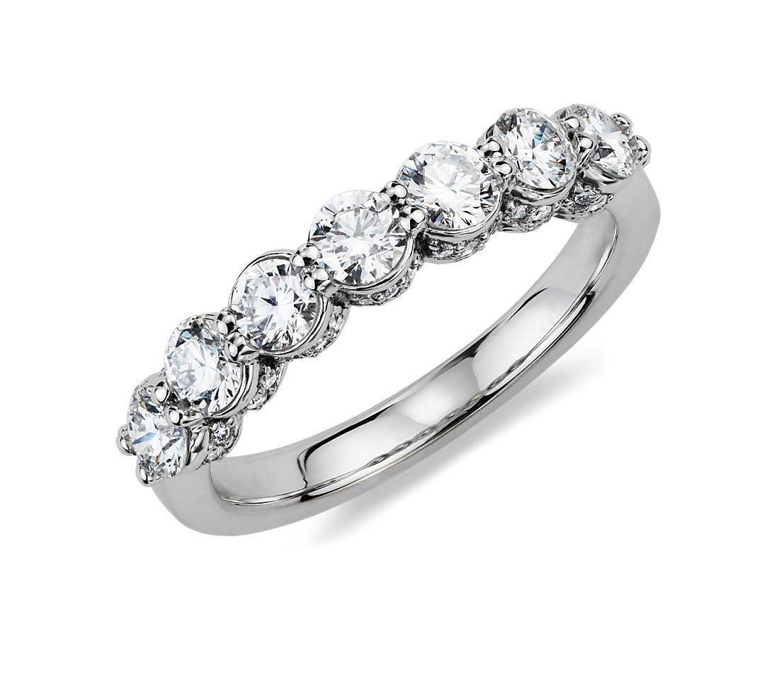 Pavé Crown Diamond Ring in 18k White Gold (1 ct. tw.)