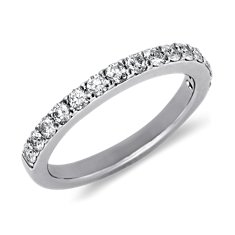 Bague diamants sertis pavé en Or blanc 14 ct (1/2 carat, poids total)