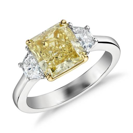 Fancy Intense Yellow Diamond Ring in Platinum and 18k Yellow Gold (2.36 ct. center)