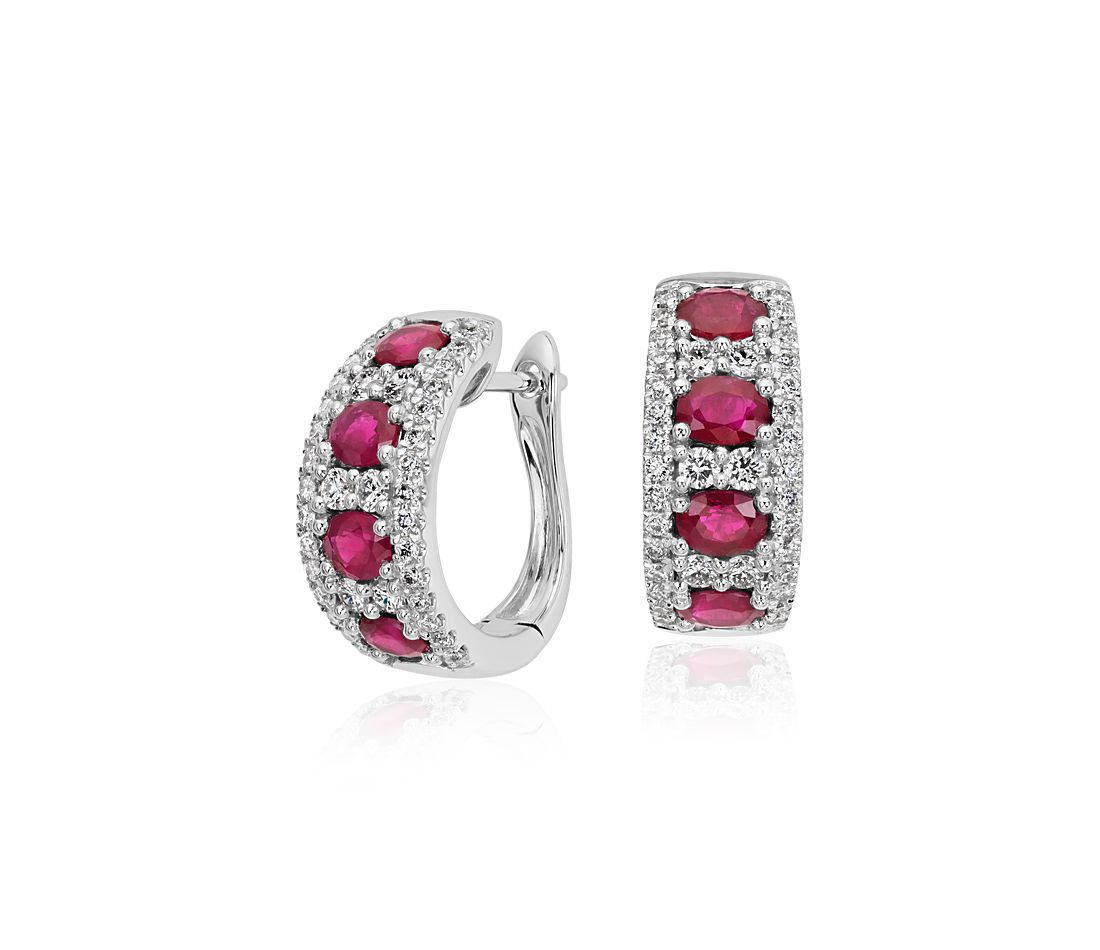 ruby and diamond hoop earring in 14k white gold 4x3mm. Black Bedroom Furniture Sets. Home Design Ideas