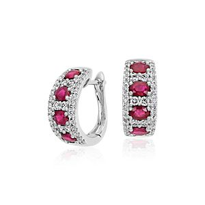 Ruby and Diamond Hoop Earring in 14k White Gold