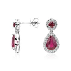 Ruby and Diamond Drop Earrings in 18k White Gold (3.72 cts)