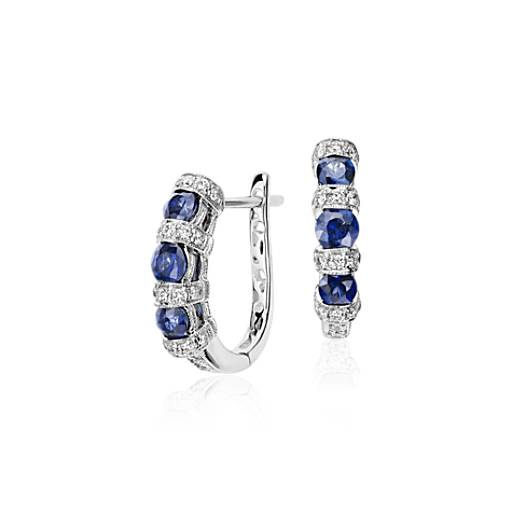 Sapphire and Diamond Hoop Earring in 14k White Gold