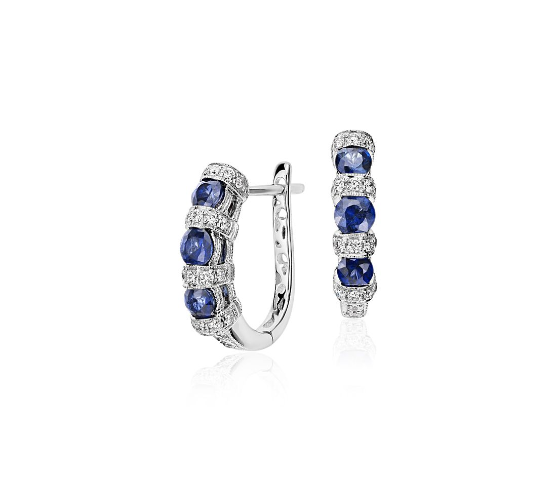 Sapphire and Diamond Hoop Earring in 14k White Gold (3.2mm)