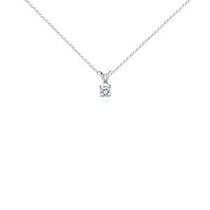 Diamond Solitaire Pendant in 14k White Gold (3/4 ct. tw.)