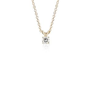 NEW 14k Yellow Gold Four-Claw Diamond Pendant