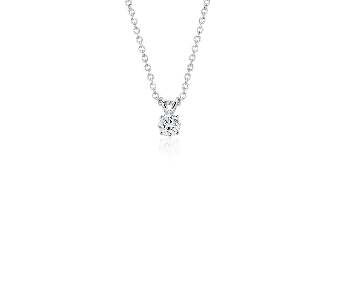 Diamond Solitaire Pendant in 14k White Gold (1/4 ct. tw.)