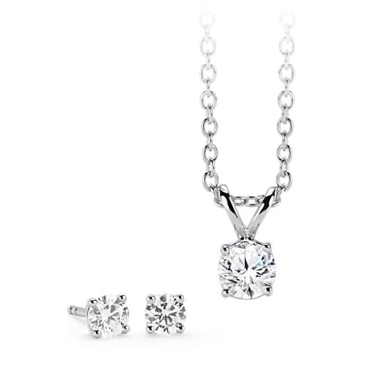 NEW Diamond Solitaire Earring and Pendant Set in 14k White Gold