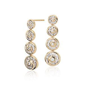 NEW Blue Nile Studio Diamond Spiral Drop Earrings in 18k Yellow Gold (5/8 ct. tw.)