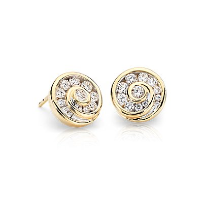 Puces d'oreilles Blue Nile Studio diamants en spirale en or jaune 18 carats (3/4 carat, poids total)