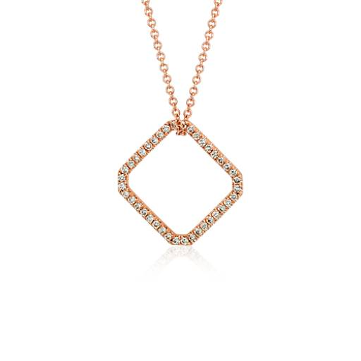 Square Diamond Pendant in 18K Rose Gold