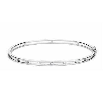 Bracelet jonc avec détails en diamant en or blanc 14carats (1/4carat, poids total)