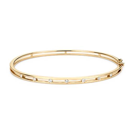 NEW Diamond Station Bangle Bracelet in 14k Yellow Gold (1/4 ct. tw.)