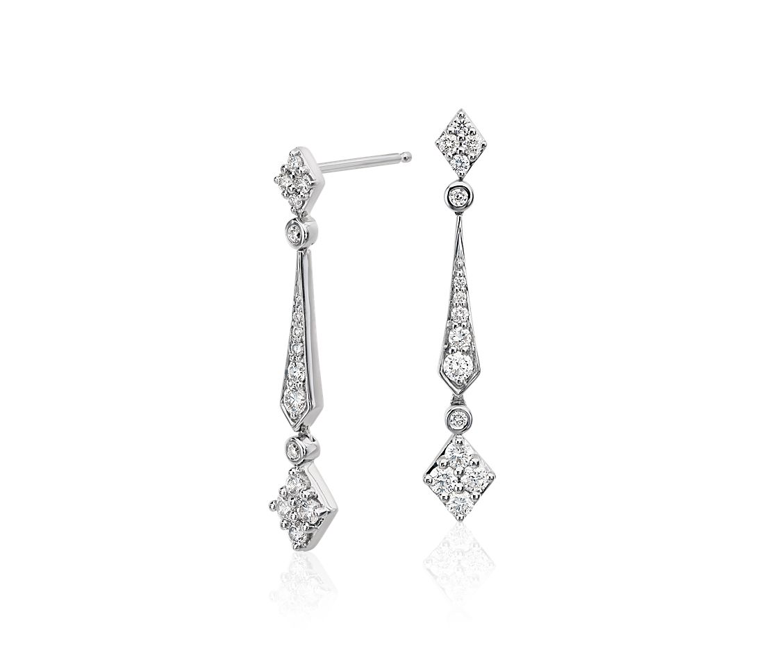 Diamond Stick Drop Earrings in 14k White Gold