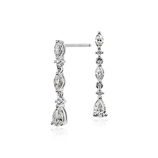 Diamond Drop Earrings in 14k White Gold