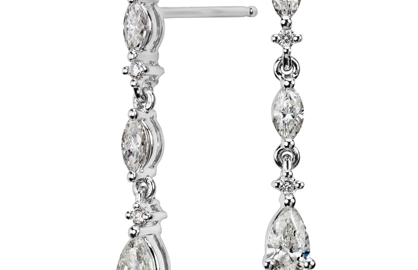 Diamond Drop Earrings in 14k White Gold (3/4 ct. tw.)