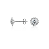Halo Diamond Earrings  in 18k White Gold (1 ct. tw.)